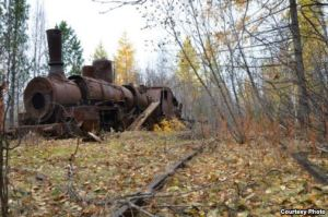 Rusting steam engine.